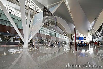 Interior of new modern terminal at Lech Walesa Air Editorial Image