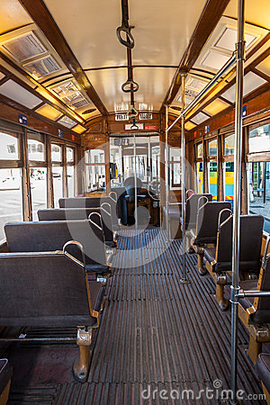 Free Interior Of An Old Lisbon Tram Stock Images - 34433294
