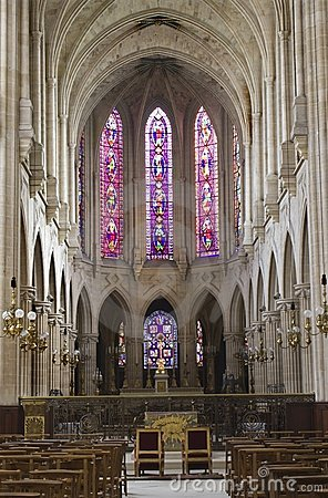 Free Interior Of Gothic Church From Paris -st. Germain Stock Images - 5464644