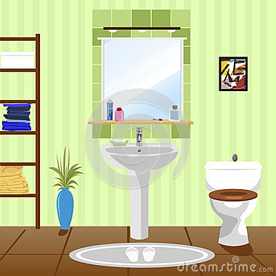 Free Interior Of Green Bathroom With Sink, Toilet Royalty Free Stock Photos - 74756738