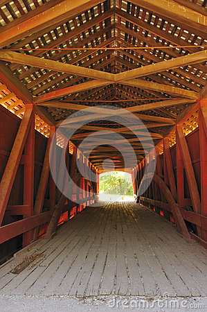 Free Interior Of Hillsdale Covered Bridge, Indiana Stock Photography - 25664902