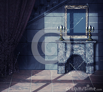 Free Interior Of Old Dark Abandoned Castle Royalty Free Stock Images - 33575269