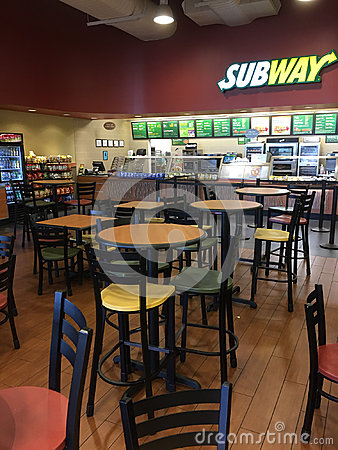 Free Interior Of Restaurant Subway In Market Royalty Free Stock Image - 94581896
