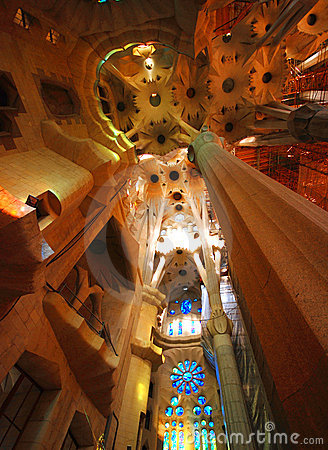 Free Interior Of Sagrada Familia Royalty Free Stock Photo - 3728265