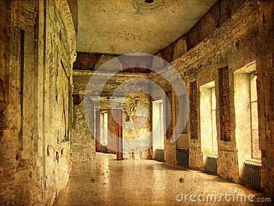 Interior of an old Palace. Ruines of a castle.