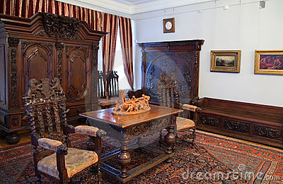 Interior with old wooden furniture Editorial Photography