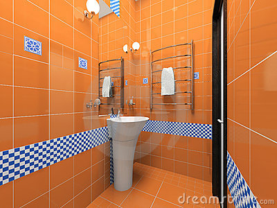 Interior of the orange bathroom