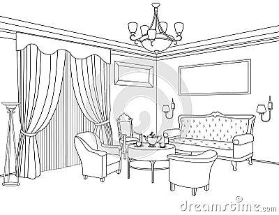 Interior outline sketch furniture architectural design for Living room interior sketch