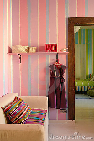 Interior  in pink color