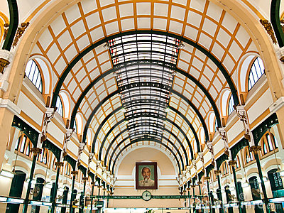 Interior of Post Office in Ho Chi Minh ,Vietnam Editorial Photo