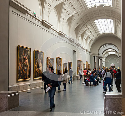 Interior of Prado museum. Madrid Editorial Stock Image