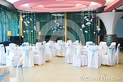 Interior of the restaurant, decorated