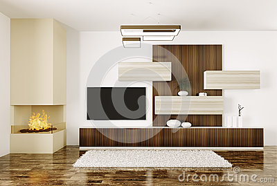 Interior of room with fireplace and plasma tv 3d stock - Meuble tv separation de piece ...