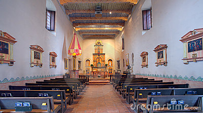 Interior Designers  Diego on Mission Basilica San Diego De Alcala Interior Showing Altar And Pews