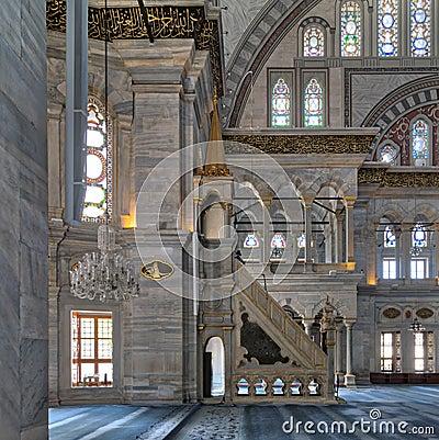 Free Interior Shot Of Nuruosmaniye Mosque With Minbar Platform, Arches & Colored Stained Glass Windows, Istanbul, Turkey Royalty Free Stock Photo - 98687785