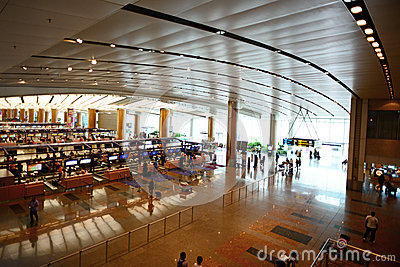 Interior of Singapore Changi Airport Editorial Photo