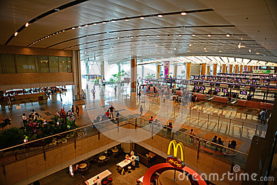 Interior of Singapore Changi Airport from top view Editorial Photography
