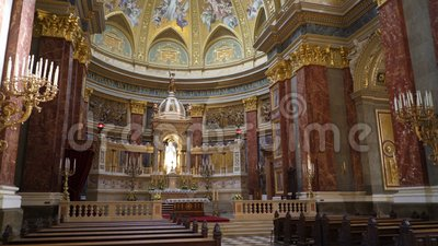 Interior of St. Stephen`s Basilica Szent Istvan Bazilika. BUDAPEST, HUNGARY - OCTOBER 3, 2015: Interior of St. Stephen`s Basilica Szent Istvan Bazilika. Catholic stock footage