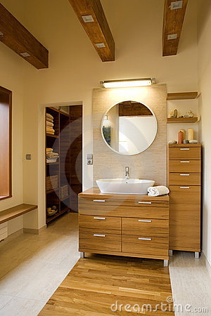 Interior of stylish modern bathroom