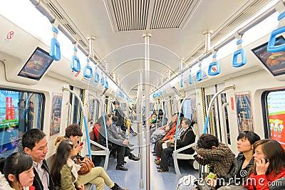 Interior of subway train Editorial Photography