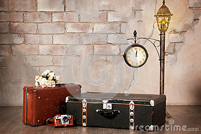 Interior, suitcases against the wall. Time travel.