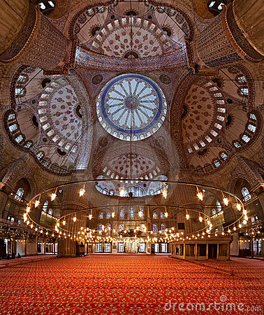 Interior of the Sultanahmet Mosque in Istanbul