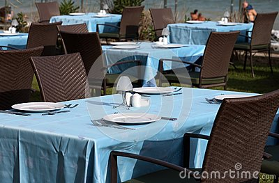 Interior of a summer terrace of restaurant