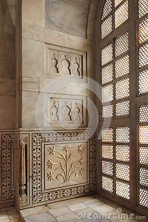 Interior of taj mahal mausoleum in India