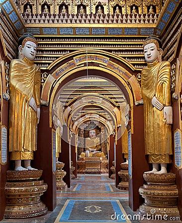 Interior Of Thanbokde Pagoda Monywa Myanmar Royalty Free