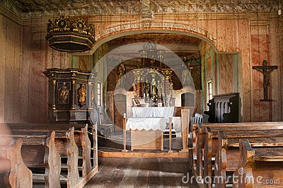 Interior of traditional wooden church