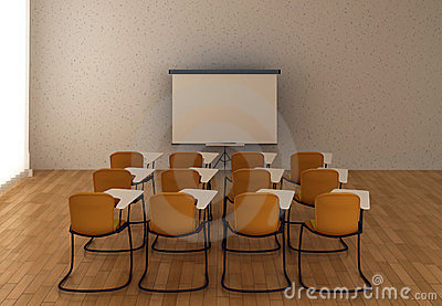 Interior of the training room with marker board an
