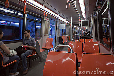 Interior of tramway Editorial Stock Image