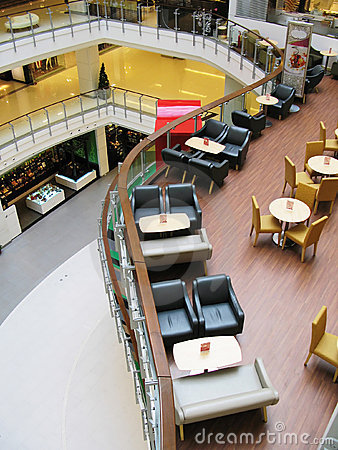 Interior of a trendy cafe