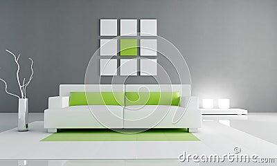 Interior verde e branco mínimo