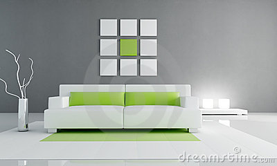 Interior verde y blanco mínimo