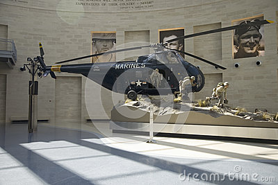 Interior view of helicopter landing at the National Museum of the Marine Corps Editorial Stock Photo