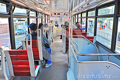 Interior view of hong kong tram