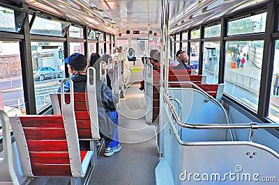 Interior view of hong kong tram