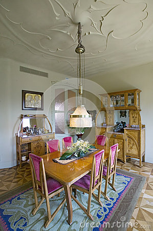 Free Interior View Of Vintage Dining Room Table Of Casa Mila Or La Pedrera (the Stone Quarry) By Antoni Gaudi, Built Between 1905-1911, Stock Images - 52319394