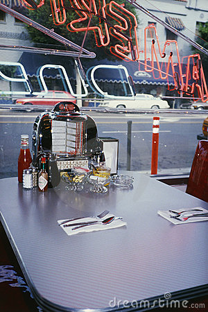 Interior of a vintage Americana type diner Editorial Stock Image