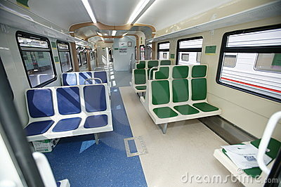 The interior of the wagon train. Compartment. Seat