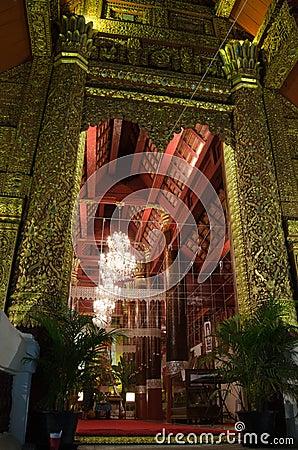 Interior Wat Bupharam at Night