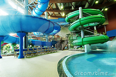 Interior water park with attractions