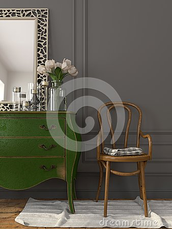 Free Interior With A Green Chest Of Drawers And A Wooden Chair Royalty Free Stock Photo - 56191755