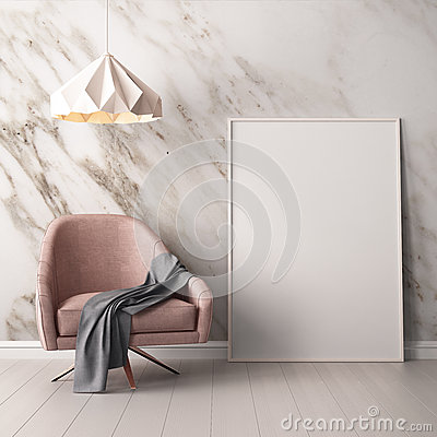 Free Interior With Armchair And A Table On A Background Of A Marble Wall, 3d Render, 3d IllustrationMock Up Poster In The Interior With Royalty Free Stock Photos - 90782808