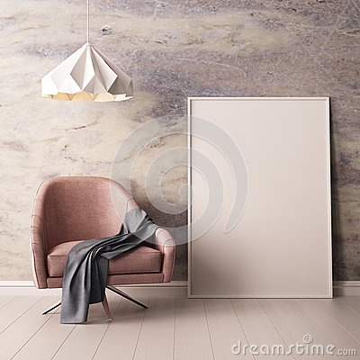 Free Interior With Armchair And A Table On A Background Of A Marble Wall, 3d Render, 3d IllustrationMock Up Poster In The Interior With Royalty Free Stock Photography - 90782847