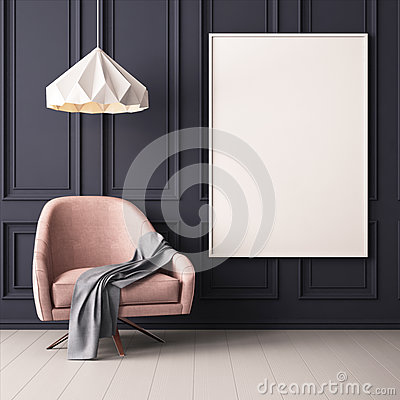 Free Interior With Armchair And A Table On A Background Of A Marble Wall, 3d Render, 3d IllustrationMock Up Poster In The Interior With Royalty Free Stock Photography - 90782877