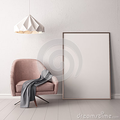 Free Interior With Armchair And A Table On A Background Of A Marble Wall, 3d Render, 3d IllustrationMock Up Poster In The Interior With Stock Photography - 90782942