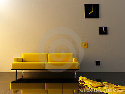 Interior - Yellow velvet, sofa and time zone clock
