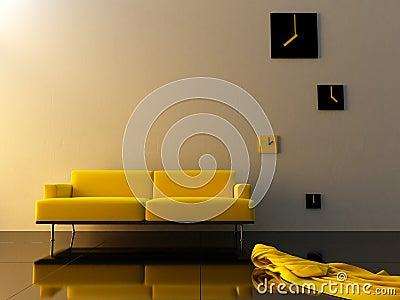 Interior - Yellow velvet, sofa and time zone clock